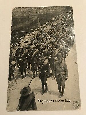 """Chicago Daily News """"engineers On The Hike"""" Wwi U.s. Army Postcard"""