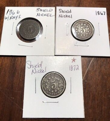 Lot of (3) Old US Shield Nickels 1866 1867 & 1872 Early US Antique Coins / Money