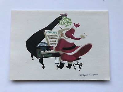 Vintage Christmas Card Ralph Hulett Pink Santa Claus Grand Piano Music Mistletoe