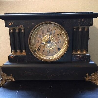Antique SETH THOMAS 6 Pillar Adamantine Circa Mantle Shelf Clock W/ Loin Heads