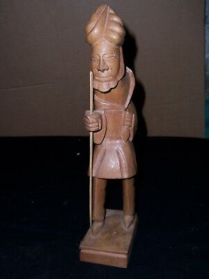 """Antique Hand CARVED WOOD STATUE  Blind Man walking 13"""" tall"""