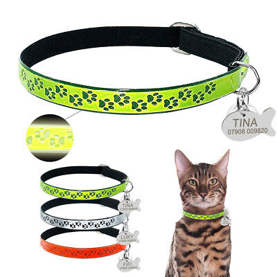 Reflective Elastic Adjustable Cat Collar & Personalised Kitten ID Name Phone Tag