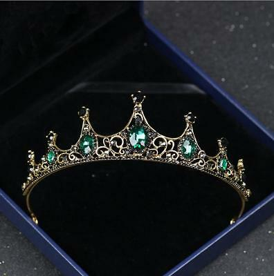 Baroque Bridal Wedding Green Crystal Queen Black Crown Headbands Tiara