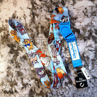 Disney Parks Cat and Dogs of Disney Lanyard with Cheshire Pluto Lady Tramp