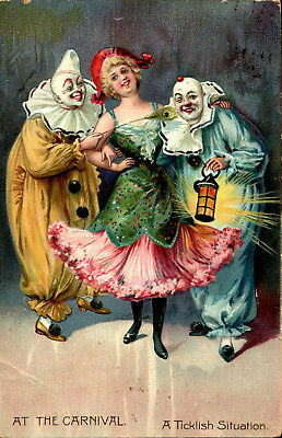 1900's Clowns & Lady At The Carnival Ticklish Situation Tuck #117 Postcard Fancy