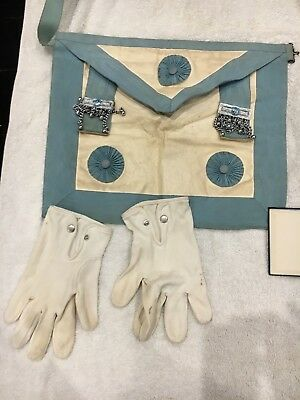 Freemasons Apron and gloves, initiation booklet, bible and info on lodge