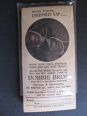 Dobbie Brothers Optometrists  About 20 cards HALF USED