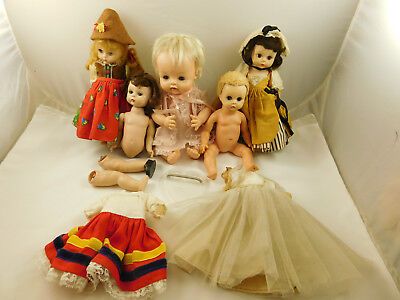 Lot of Vintage Madame Alexander Dolls, Clothes And Parts