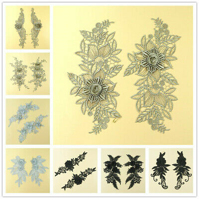Hand Craft Trim Dress Decor DIY Sewing Lace Applique Embroidery Flower Leaf Pair