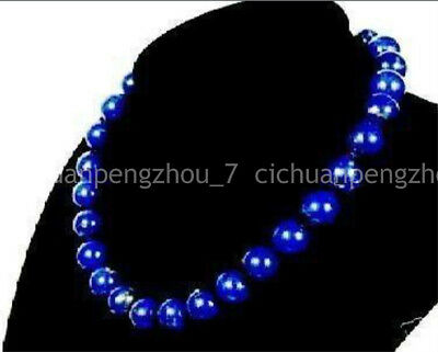 "Long 22"" Beautiful 8mm Egyptian Blue Lapis Lazuli Gemstone Round Beads Necklace"