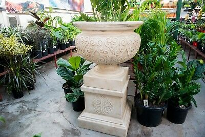 Outdoor Garden Patio Renaissance Planter Pot Urn Pedestal Round Bowl Sandstone