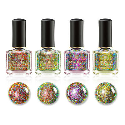 BORN PRETTY Peacock Holographic Nail Polish Holo Glitter Nail Varnish 6ml