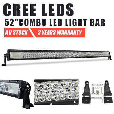 Curved 50inch CREE LED Work Light Bar SPOT FLOOD COMBO Beam Driving 4WD SUV 52""