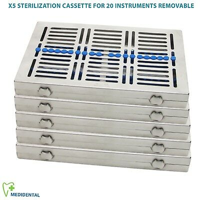5 Sterilization Cassettes Removable Rack tray 20 holder Surgical Autoclave Tools