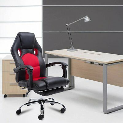 Executive Racing Office Chair PU Leather Swivel Computer Desk Seat High Back Red