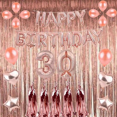 Rose Gold 18/21st/30/40/50 Happy Birthday Balloons Number Confetti Party Curtain
