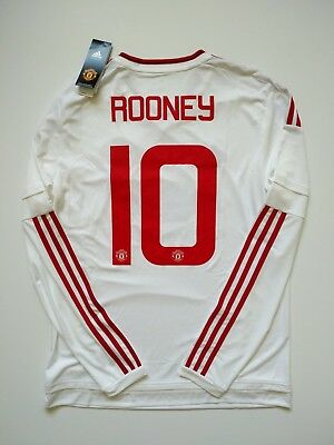 Wayne Rooney Manchester United 15/16 Adidas Away Long Sleeve Jersey - Size Large