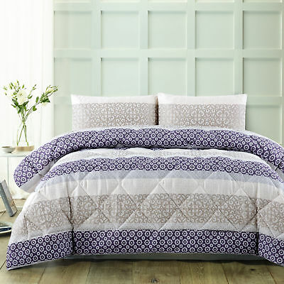 NEW 3 Piece Plum Jacquard Comforter & Pillowcases Set - Accessorize,