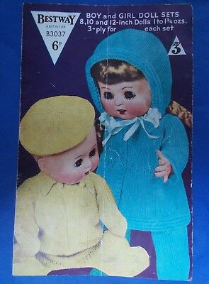 67db6f9552a8 VINTAGE BESTWAY DOLLS clothes knitting pattern for 8