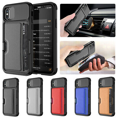 Luxury Hybrid Leather Magnetic Car Card Holder Case Cover For iPhone XS Max Xr 8