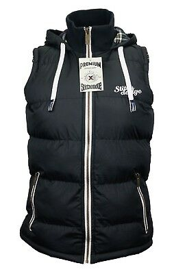 Womens  Full Zip Vest Hooded Puffer Warm Fleece Jacket For autumnBlack