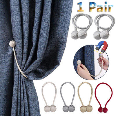 1 Pair Magnetic Ball Home Curtain Tiebacks Tie Backs Buckle Clips Blind Holdback