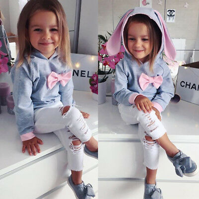 US Fashion Toddler Kid Baby Girl Hooded Top Denim Pants Leggings Outfits Clothes