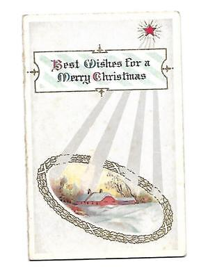 Best Wishes for a Merry Christmas Santa  Verse Folding Vict Card c1880s