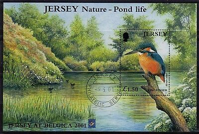 Jersey 2001 Pond Life min. sheet with Exhibition ovpt. very fine used