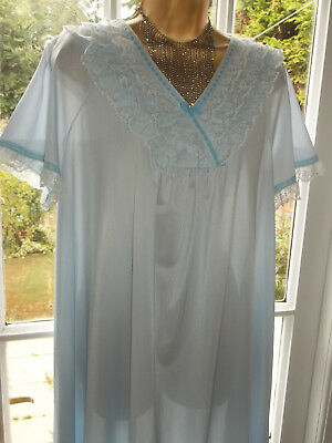 """Vtg 1970s St Michael Nylon Frilly Lacy Nightie Nightdress Gown 42-44"""" Tall Girl"""