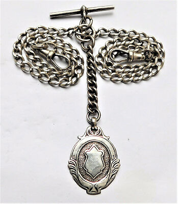 NO RES Sterling Silver Double Albert Pocket Watch Chain Necklace Vintage Antique