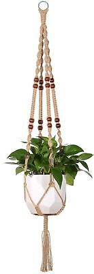Mkono Macrame Plant Hanger Indoor Outdoor Hanging Planter Basket Jute Rope Wi...