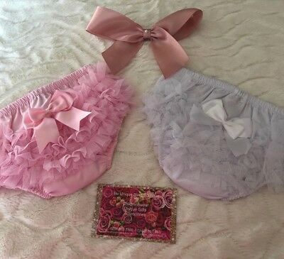 Baby Girls Tutu Frill Knickers with Bow - White & Pink