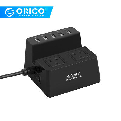 ORICO 40W 5 USB Charging Ports Power Strip and 2 AC Outlets Surge Protector 5FT