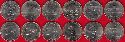 USA set of 6 nickels: 5 cents 1977-2006 UNC