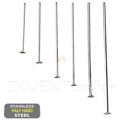 304 Stainless Steel FLAT HEAD PINS 20 30 40mm Half Hard JEWELLERY MAKING FINDING