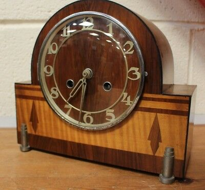 Vintage FOREIGN Art Deco Style Chiming Mantel Clock - 254