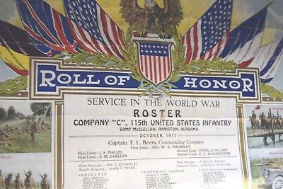 WWI US Army Roll of Honor Service Lithograph Maryland 115th Infantry 29th Div NG