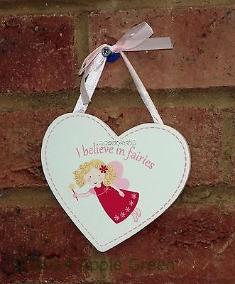 Heart Fairy Sign I Believe in Fairies Child Girl White Pink Plaque Gift 8cm New