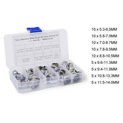 70Pcs Single Ear Plus Stainless Steel Hydraulic Hose Clamp O-Clip Pipe Fuel Air