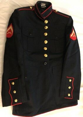 USMC Dress Blues Coat Jacket 40 S Marine Corps Formal Parade Blue Uniform LCpl