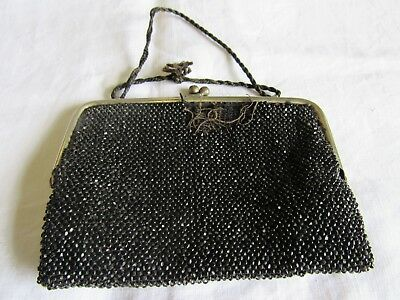 Vintage Purse, Black Beaded Silk Lined Purse, Damage To One Side As Photo.