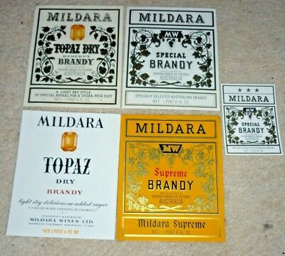 Collectable brandy labels - Set of 5 Mildara imperial brandy labels MINT