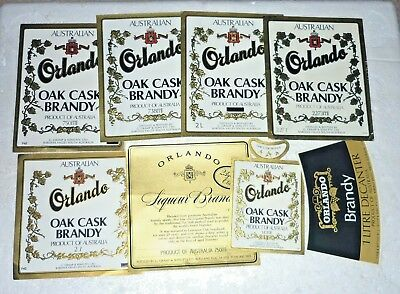 Collectable brandy labels - Set of 8 Orlando metric brandy labels MINT