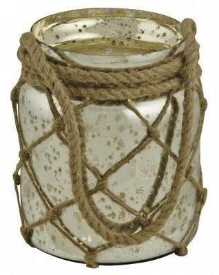Antiqued Silvered Glass Storage with Rope Handle, Candle Holder / Lantern
