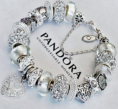 """AUTHENTIC Pandora Sterling Silver Bracelet """"A LOVE STORY!"""" with European Charms."""