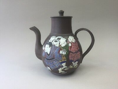 Oriental Signed Red Clay Teapot - Yixing Style - Decorated with Boys