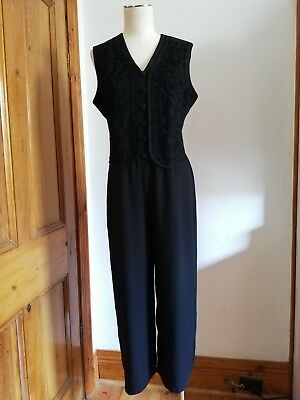 Vintage 80s Dolly Dolly black vest jumpsuit playsuit romper tuxedo Size 10