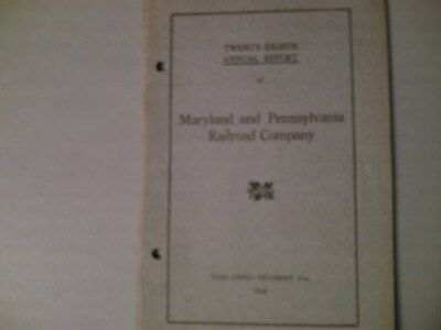 Maryland And Pennsylvania RR  Twenty-Eighth Annual Report 28 P. December 31,1928