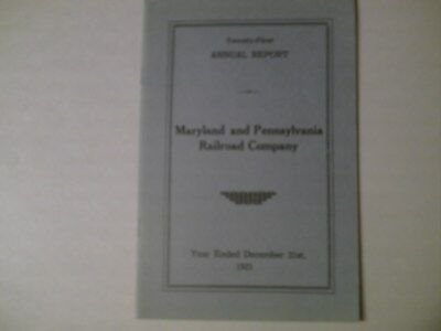 Maryland And Pennsylvania RR  Twenty-First Annual Report 28 P. December 31, 1921